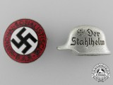 A Pair of NSDAP and Stahlhelm Members Badges