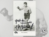 A Heavyweight Boxing Champion & Luftwaffe Elite Fallschirmjäger Max Schmeling Signed Photograph