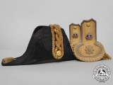 A Rare First War Royal Navy Paymaster Captain's Bicorn Hat and Epaulettes with box