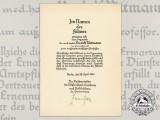 A 1940 Reich Minister for Science, Education, and National Culture Appointment Document