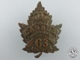 A First War 63rd Canadian Infantry Battalion Cap Badge