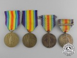 Four First War Allied Victory Medals