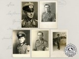 A Lot of Five German Second War Postcards Depicting Portraits of Soldiers