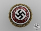 A Large Size NSDAP Golden Party Badge, # 66823