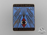 A 1940 HJ Harvest Aid Participation Badge by G. Poellath