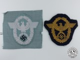Two Second War German Police Sleeve Eagles