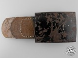"A ""Neutral"" Black Painted Buckle with Leather Tab by Dransfeld & Co."