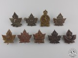 Nine First War Canadian Collar Badges