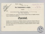 An Invitation for Reichsminister Hermann Göring and Frau Gemahlin to Attend an Opera and Ball 1938