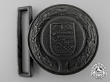 A Third Reich Saxony Fire Defence Service Officer's Belt Buckle; Published Example