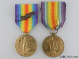 Two First War Victory Medals; Royal Navy & Canadian Railway