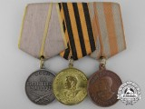 A Soviet Russian Second War Three Piece Medal Group