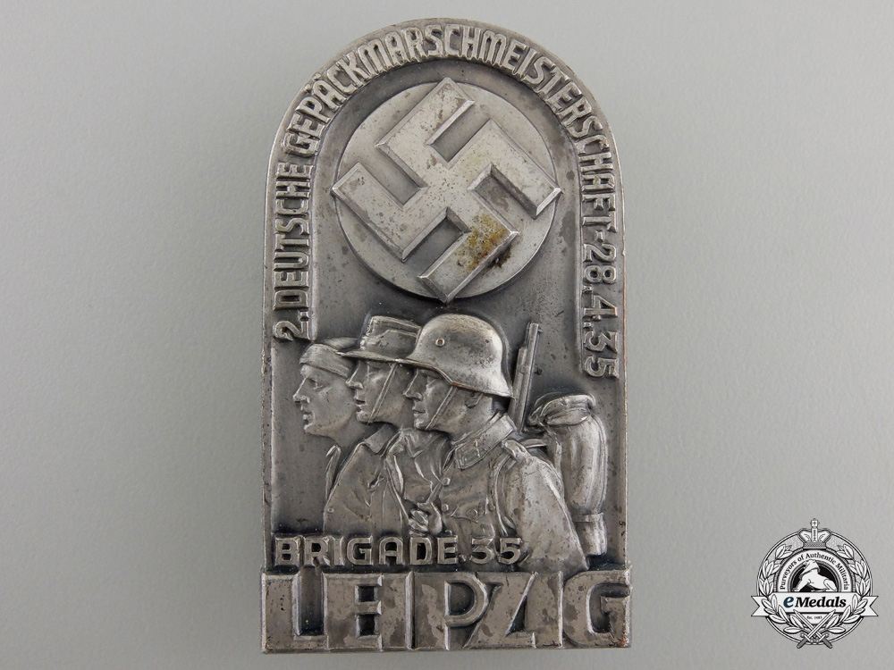 eMedals-A 1935 35th Leipzig Brigade Badge by Brehmer