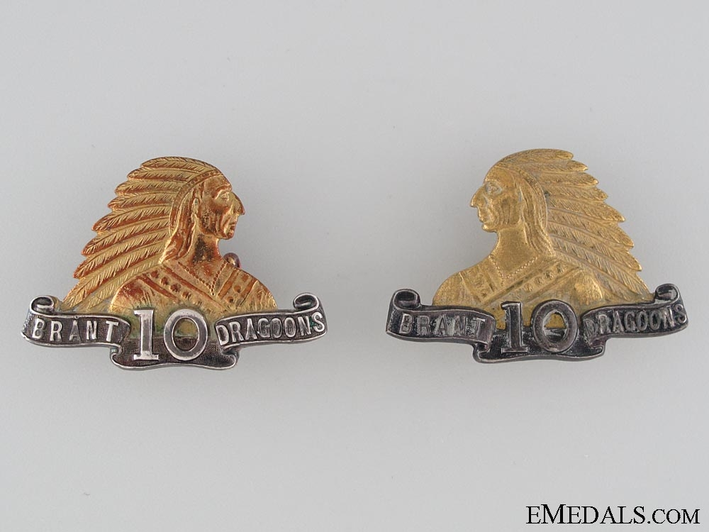 eMedals-10th Brant Dragoons Officer's Collar Tab Pair