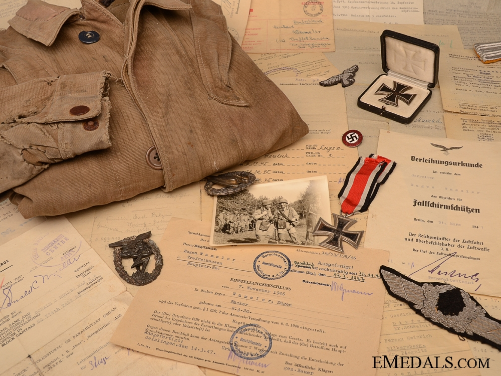 eMedals-The Awards, Documents &  Knochensack to Lt.Wamsler of the 13th Fallschirm J.R.4 Group