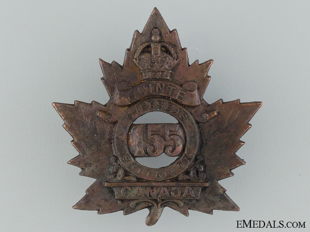 eMedals-155th Quinte Overseas Infantry Battalion Cap Badge CEF