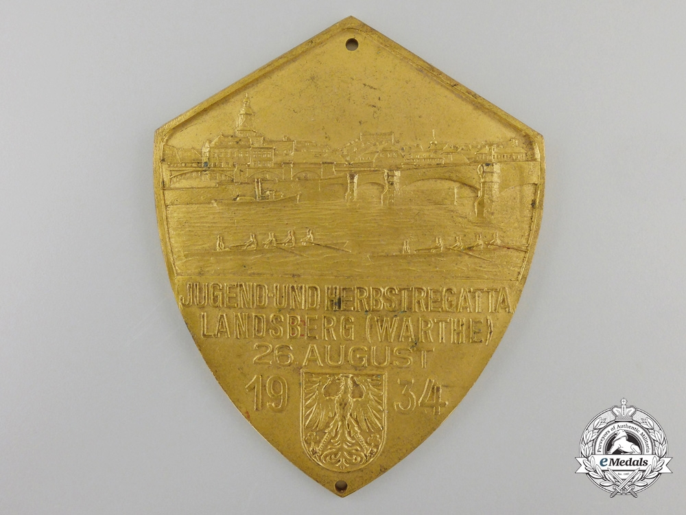 eMedals-A 1934 German Rowing Regatta Warthe Award