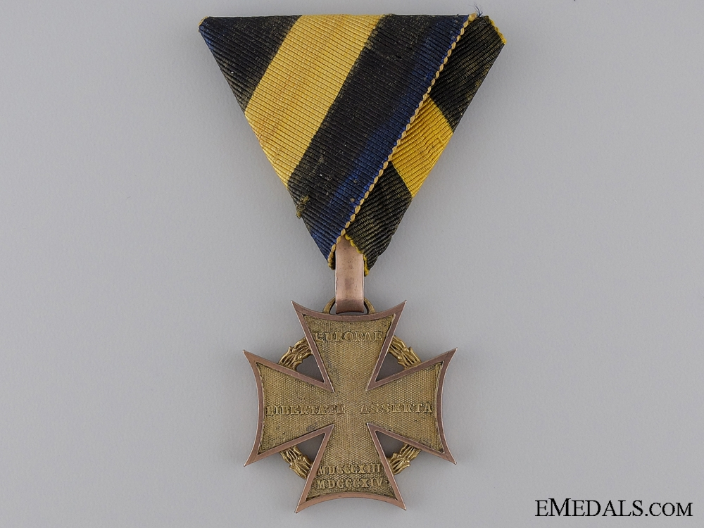 eMedals-A Scarce 1813-14 Austrian Army Cross with Gold Rim & Loop