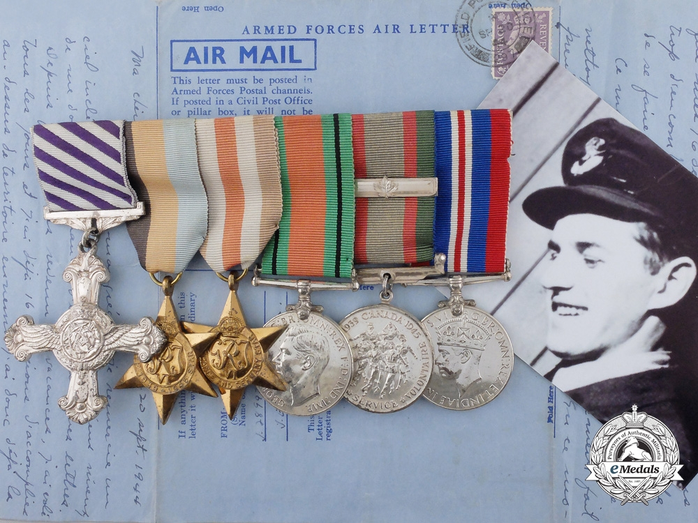 eMedals-A Fine DFC to Flight Lieutenant Gourdeau for Persistent Attack on Kiel September 1944