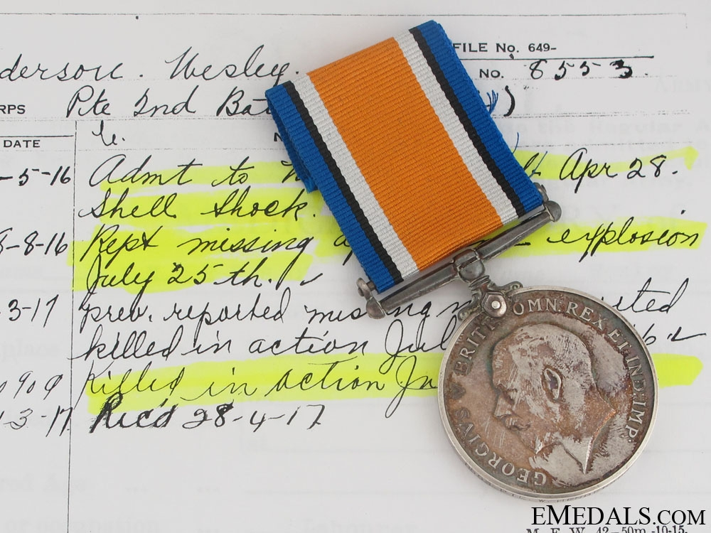 eMedals-1914-1918 War Medal - Wire Party KIA