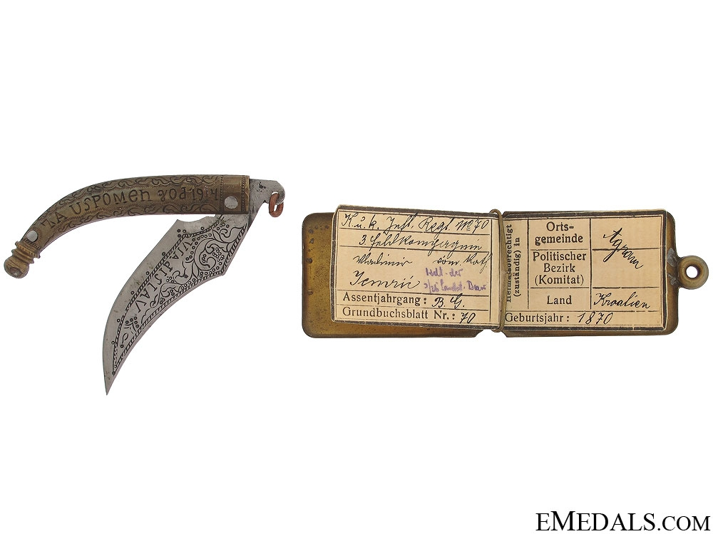 eMedals-1914 Croatian ID Tag and Knife