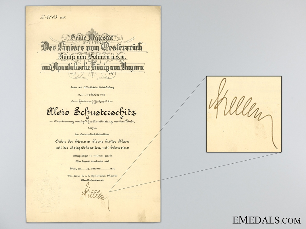 eMedals-1917 Award Document for the Order of the Iron Crown 3rd Class