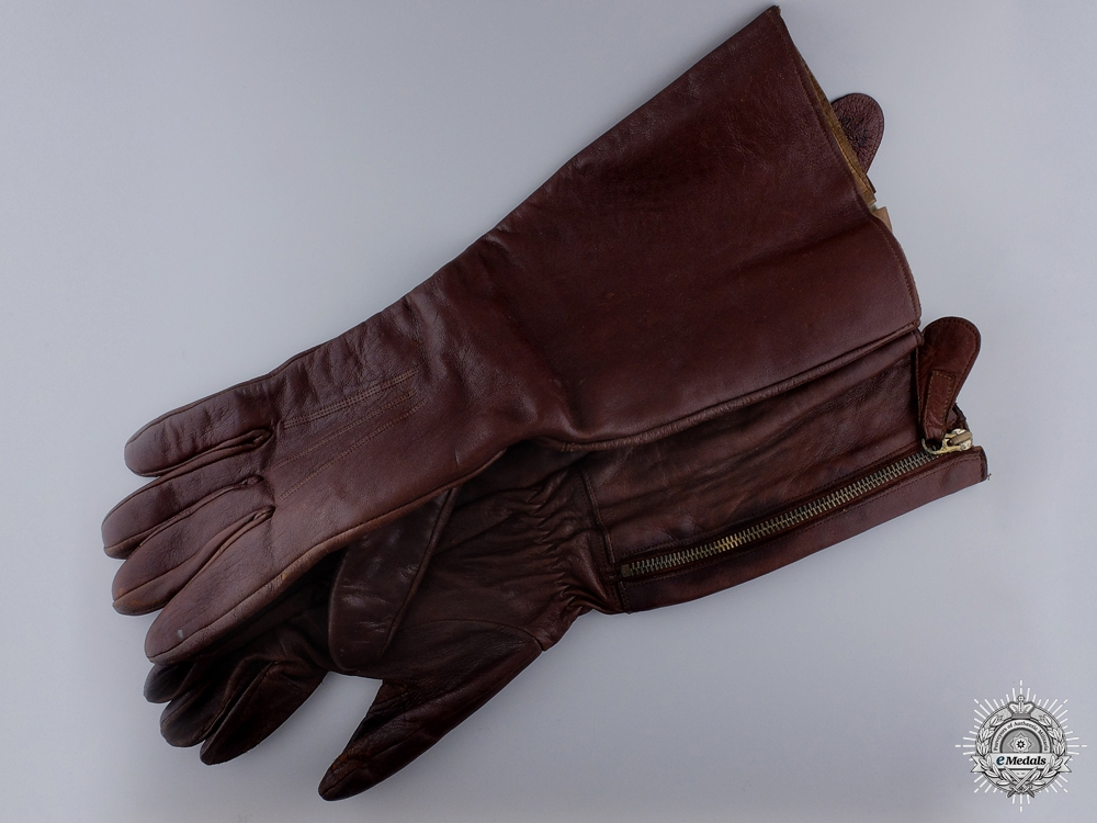 eMedals-1933 Pattern RAF Straight Zip Flying Gloves (Gauntlet-Style)