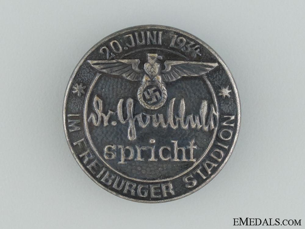 eMedals-1934 Dr. Goebbels Speech at Freiburg Stadium Tinnie