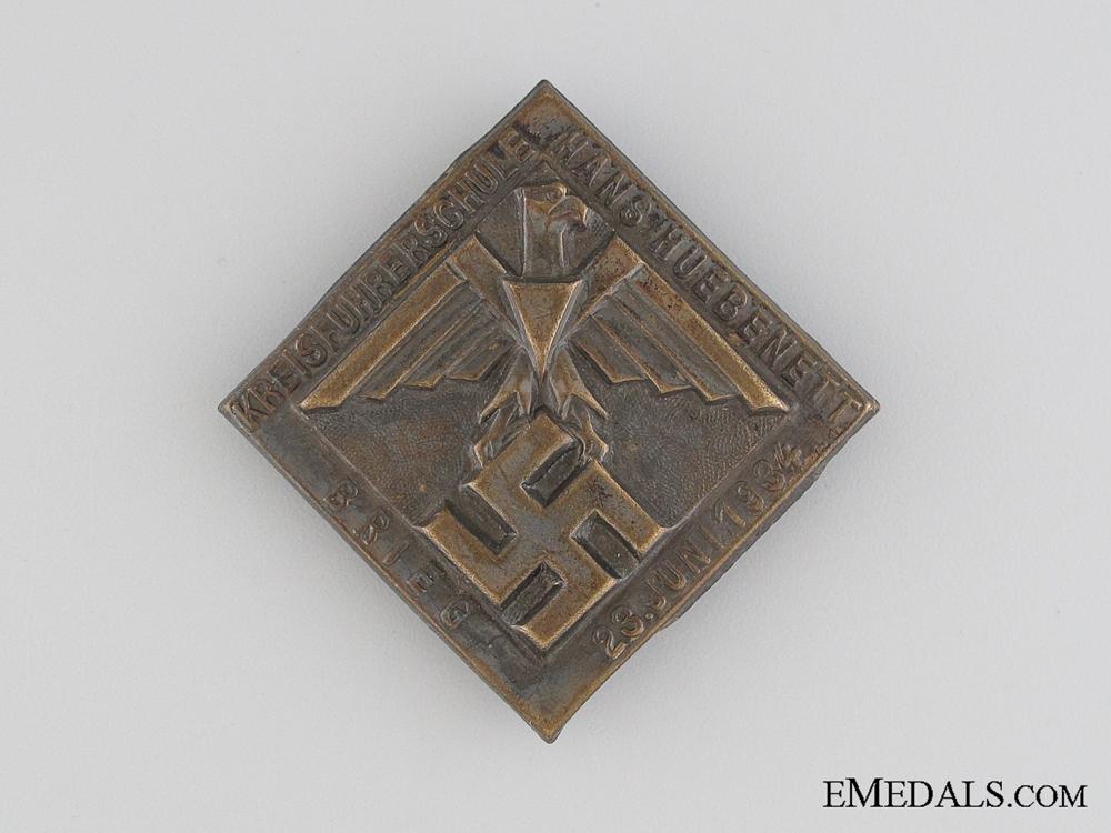 eMedals-1934 Hans Huebenett Fuhrer School Meeting Tinnie