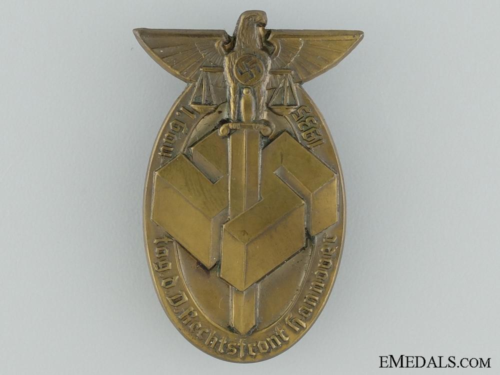 eMedals-1935 1st Gau Day d. D. Rechtsfront, Hanover Tinnie