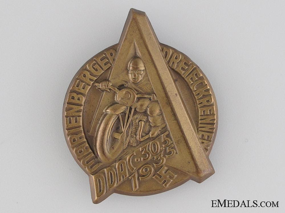 eMedals-1935 German Automobile Club Motorcycle Race Tinnie