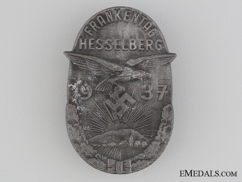 eMedals-1937 Hesselberg Frankentag Badge