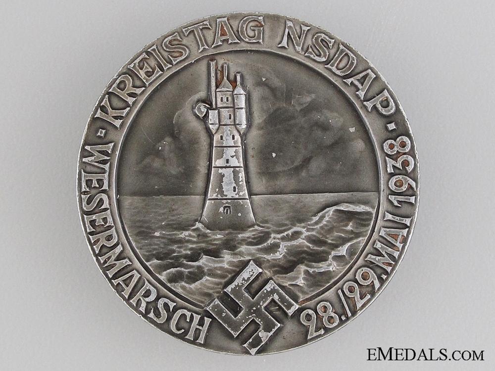 eMedals-1938 Wesermarsch NSDAP Meeting Tinnie