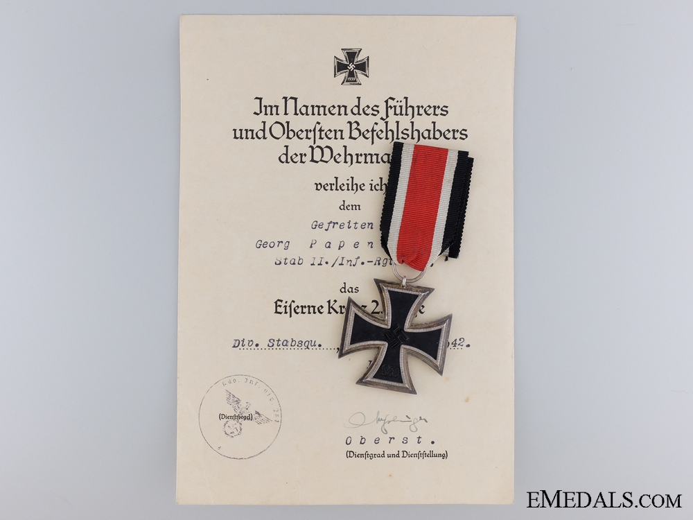 eMedals-1939 Second Class Iron Cross with Document