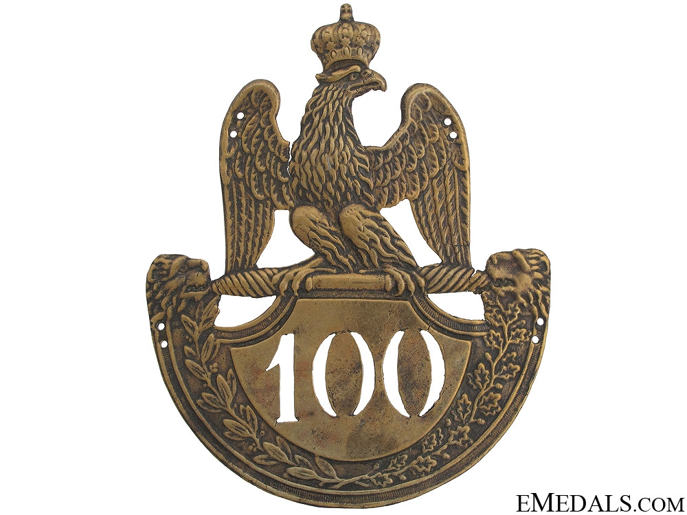 eMedals-1st Empire 1812 Model 100th Regiment Helmet Plate