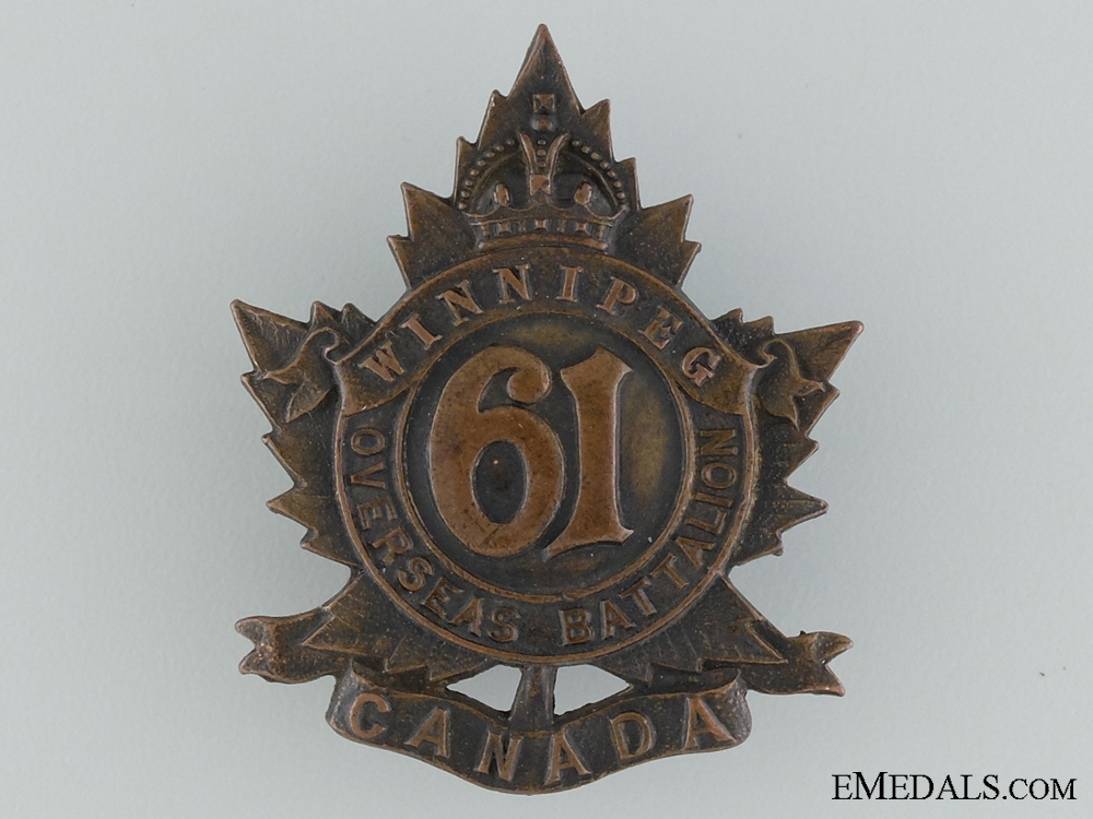 eMedals-61st Battalion (Winnipeg) Cap Badge CEF