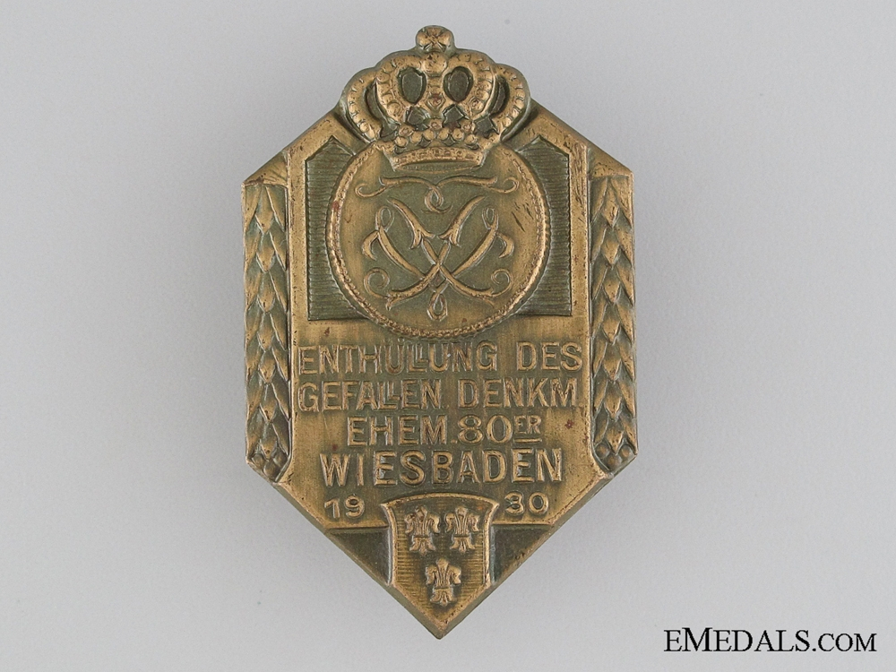 eMedals-80th Regiment Remember the Fallen, Wiesbaden Tinnie, 1930