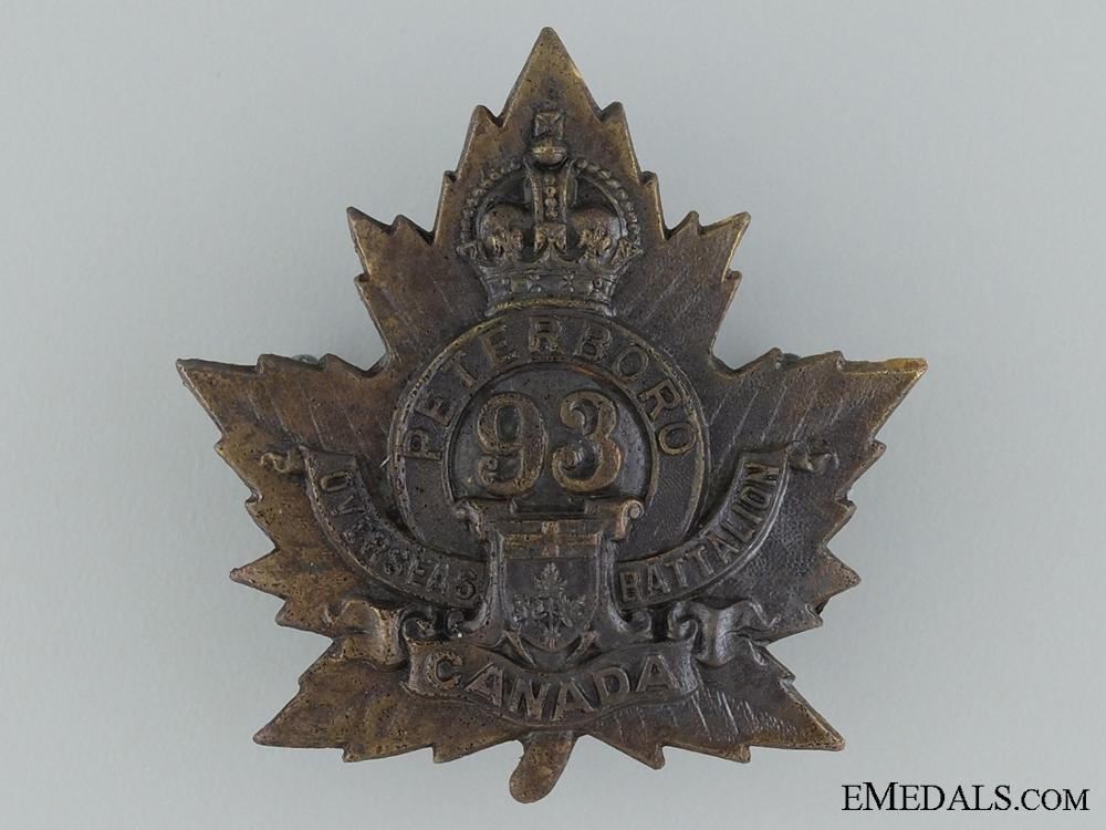 eMedals-93rd Battalion (Peterborough, Ontario) Cap Badge CEF