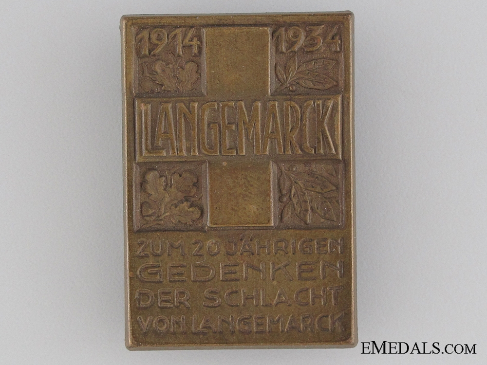 eMedals-20th Anniversary of the Battle of Langemarck Tinnie, 1914-1934