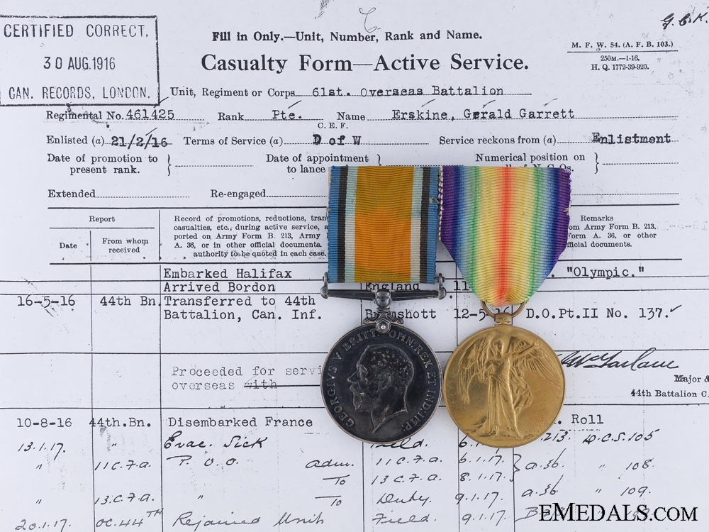 eMedals-A Great War Pair to a Hill 70 Casualty, Corporal Gerald G. Erskine, 61st Infantry Battalion, 44th Infantry Battalion