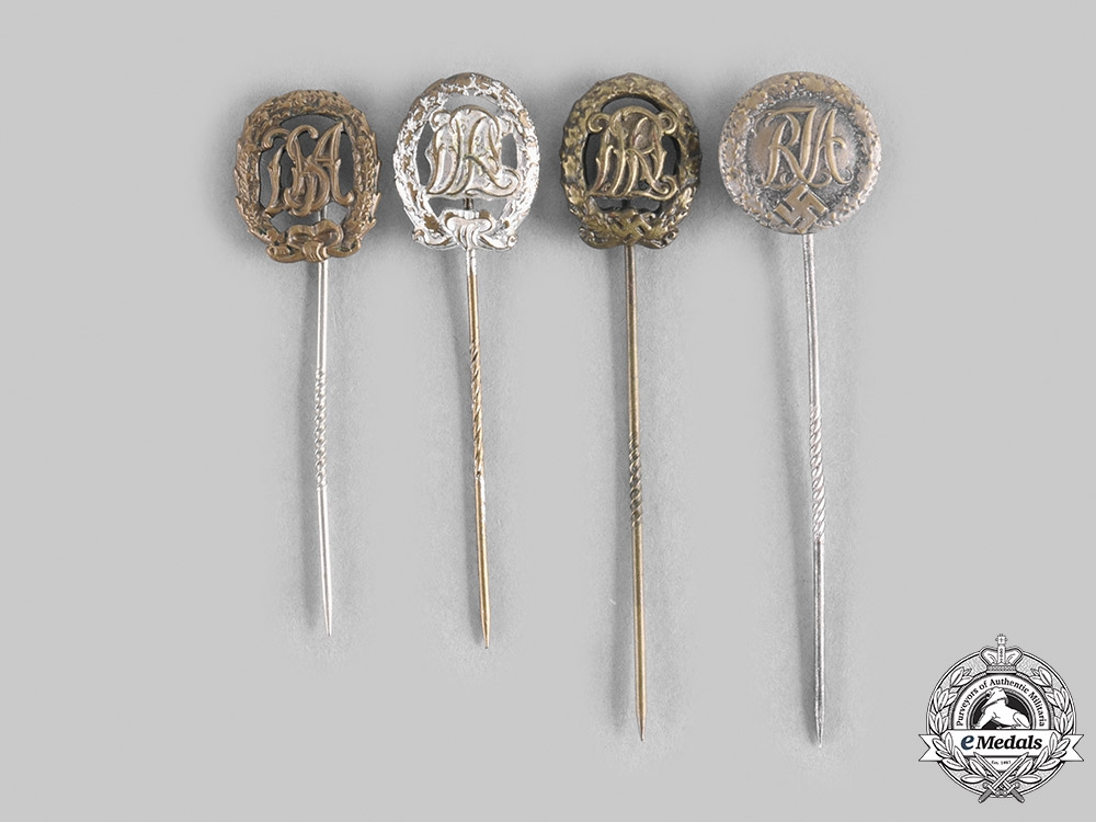 eMedals-Germany, DRL. A Lot of German League of the Reich for Physical Exercise Badge Miniature Stick Pins