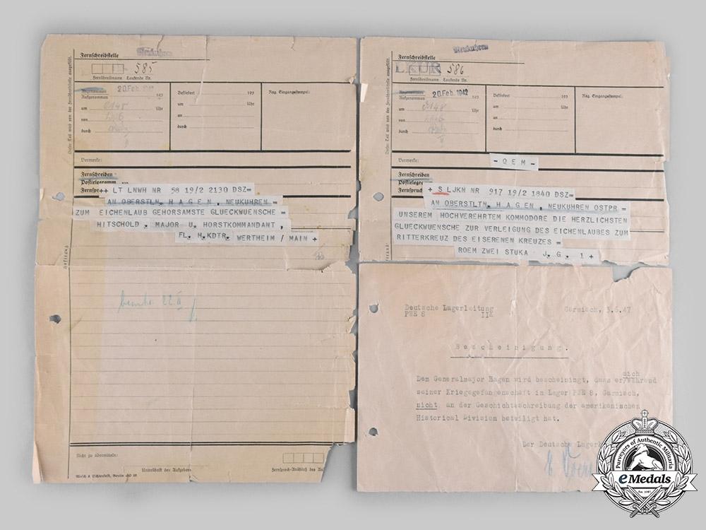 eMedals-Germany, Luftwaffe. A Collection of Documents to Generalmajor Walter Hagen (KC w. Oak Leaves)
