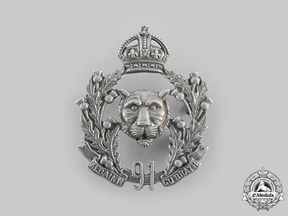 eMedals-Canada, Dominion. A Pre-First War 91st Regiment Canadian Highlanders Cap Badge