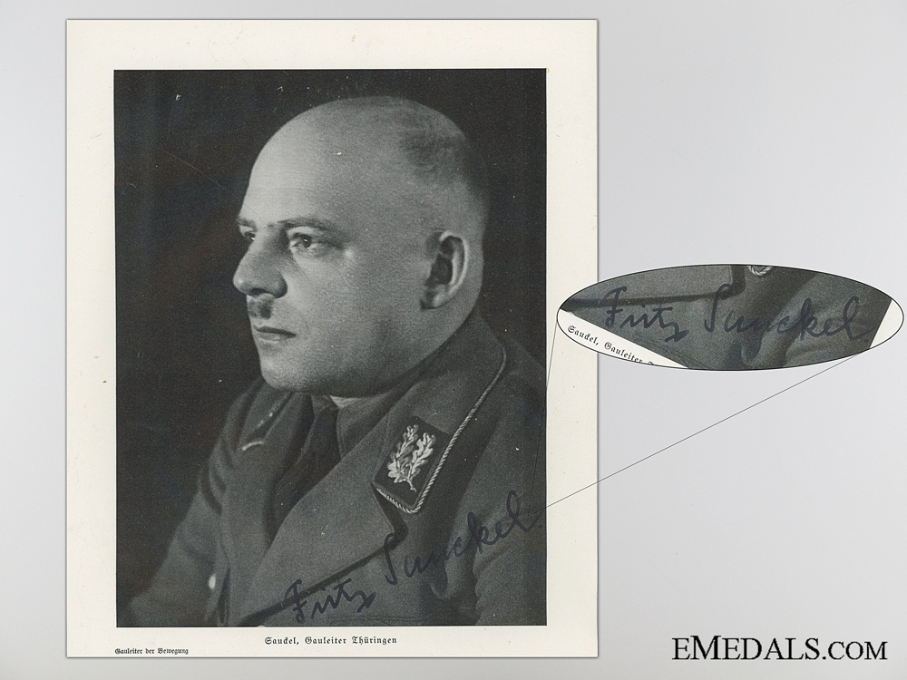 eMedals-The Signature of German Politician Fritz Sauckel