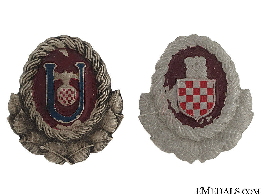 eMedals-Ustasha & Army Officer's Cap Badges