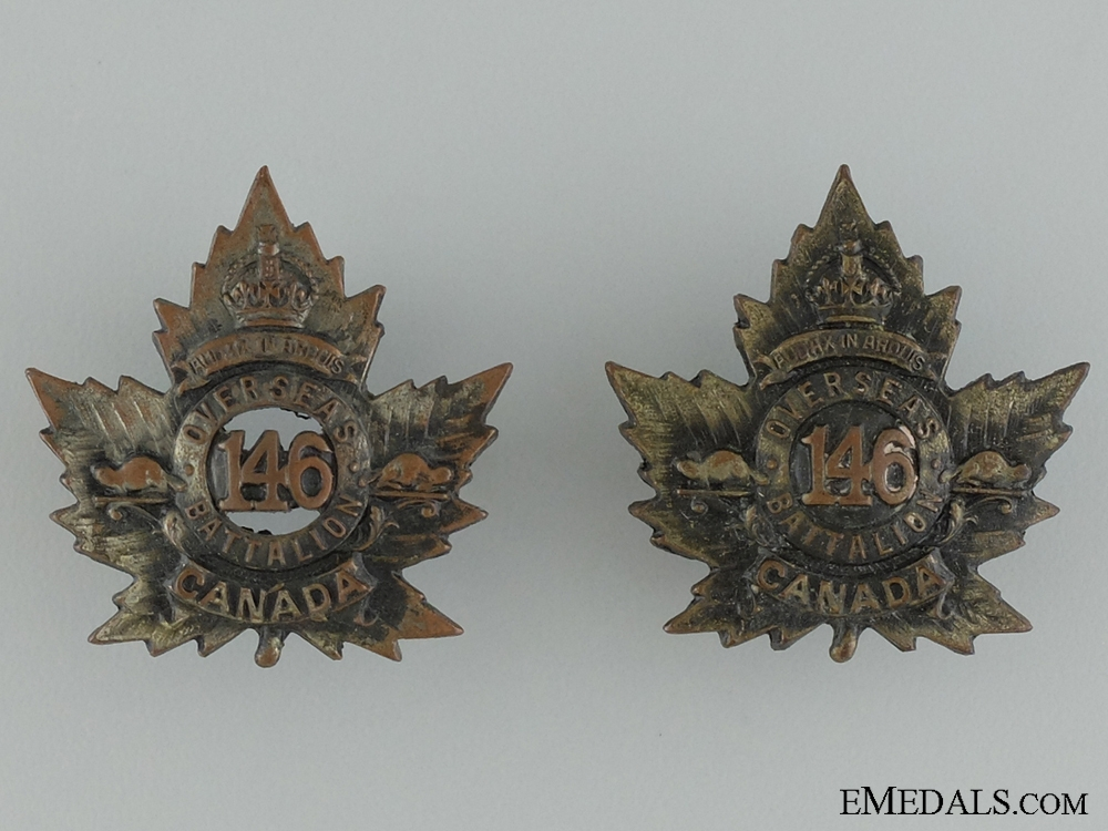 eMedals-WWI 146th Infantry Battalion Collar Pair CEF