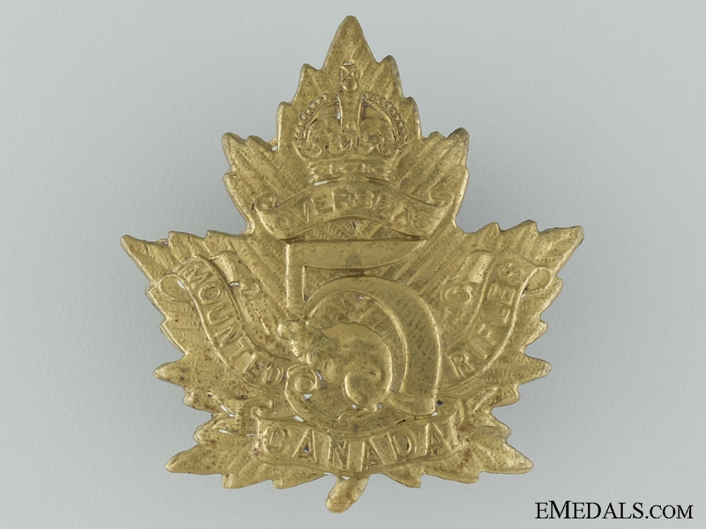 eMedals-WWI 5th Mounted Rifle Battalion Cap Badge CEF
