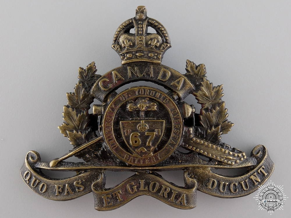 eMedals-WWI 67th University of Toronto Overseas Field Battery Cap Badge