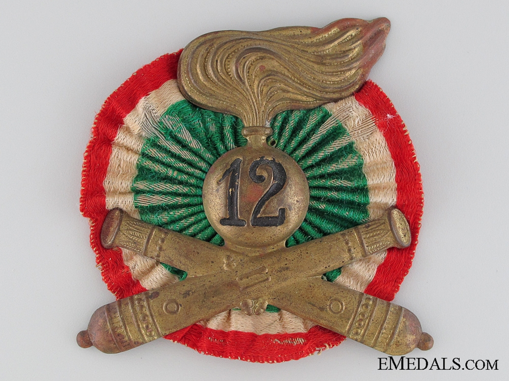 eMedals-WWII 12th Artillery Division Pith Helmet Insignia