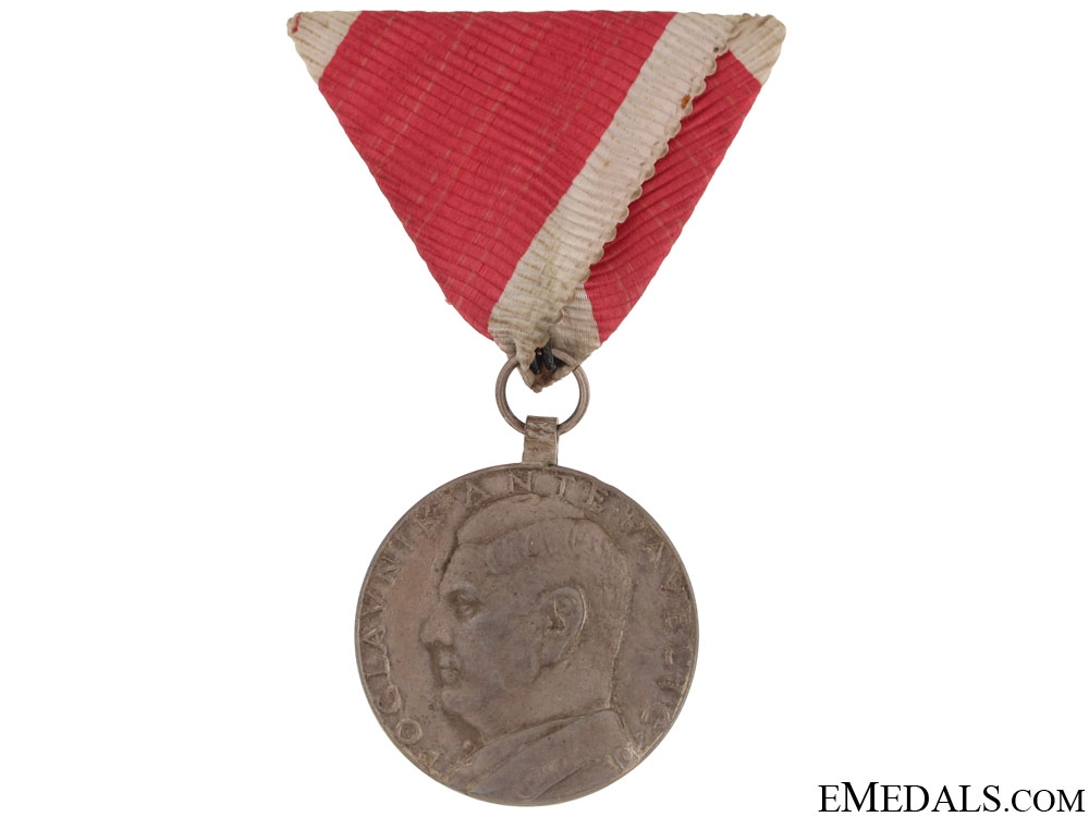 eMedals-A. Pavelić Small Silver Bravery Medal - solid Silver